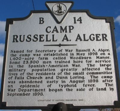 Camp Russell A. Alger Marker Photo, Click for full size
