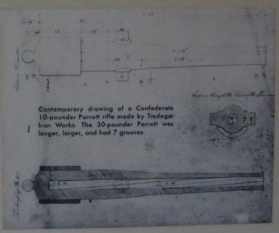 Contemporary drawing of a Confederate 10-pounder Parrott rifle made by Tredegar Iron Works. image. Click for full size.