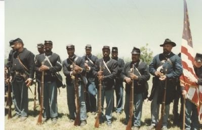 USCT reenactors from Washington DC at Honey Springs Battlefield, 1996 image. Click for full size.