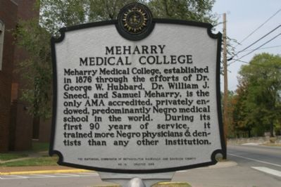 Meharry Medical College Marker - Back image. Click for full size.