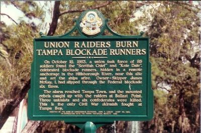 Union Raiders Burn Tampa Blockade Runners Marker image. Click for full size.
