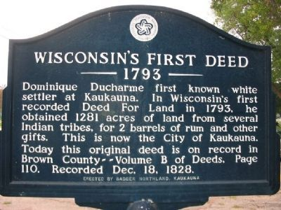 Wisconsin's First Deed Marker image. Click for full size.