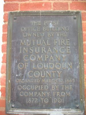 Mutual Fire Insurance Company of Loudoun County Marker image. Click for full size.