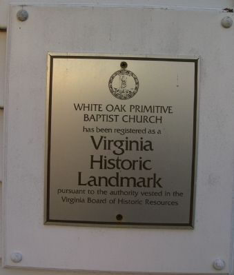 Virginia Historic Landmark Marker, on side of White Oak Church image. Click for full size.