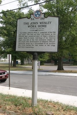 The John Wesley Work Home Marker (Reverse) image. Click for full size.