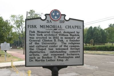 Fisk Memorial Chapel Marker - Front image. Click for full size.