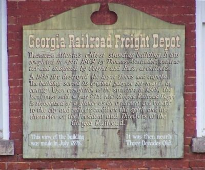 Georgia Railroad Freight Depot - Exterior Marker Photo, Click for full size