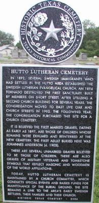 Hutto Lutheran Cemetery Marker image. Click for full size.