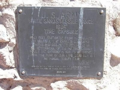 Trinity Site Time Capsule at the McDonald Ranch House Site image. Click for full size.