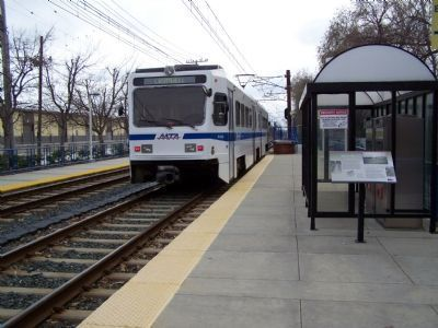 Light Rail train heading south to Baltimore City. Photo, Click for full size
