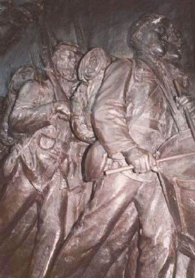 Black soldiers in the memorial's relief. image. Click for full size.