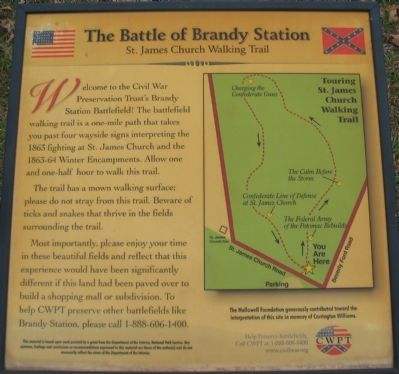 The Battle of Brandy Station<br>St. James Church Walking Trail image. Click for full size.