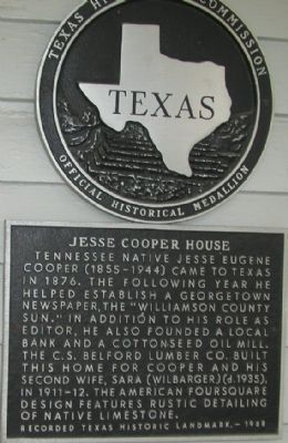 Jesse Cooper House Marker image. Click for full size.