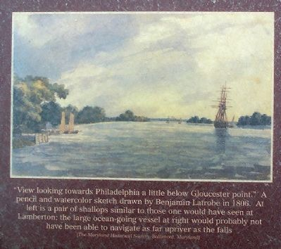 """View looking towards Philadelphia a little below Gloucester point."" image. Click for full size."