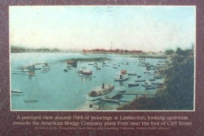 A postcard view around 1905 of moorings at Lamberton image. Click for full size.