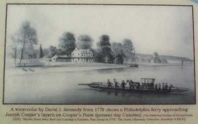 A watercolor by David J. Kennedy from 1779 shows a Philadelphia ferry image. Click for full size.