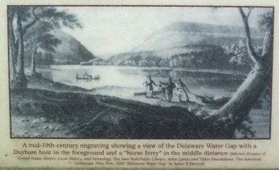 A mid-19th-century engraving showing a view of the Delaware Water Gap image. Click for full size.