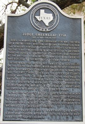 Judge Greenleaf Fisk Marker image. Click for full size.