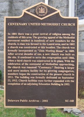 Centenary United Methodist Church Marker image. Click for full size.