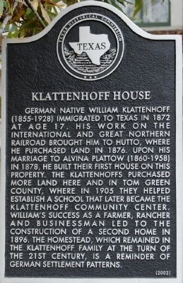 Klattenhoff House Marker image. Click for full size.