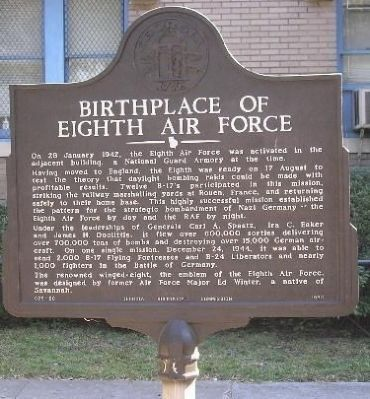 Birthplace of Eighth Air Force Marker image. Click for full size.