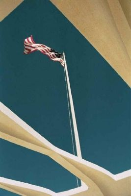 American Flag Flies at The USS Arizona Memorial Photo, Click for full size