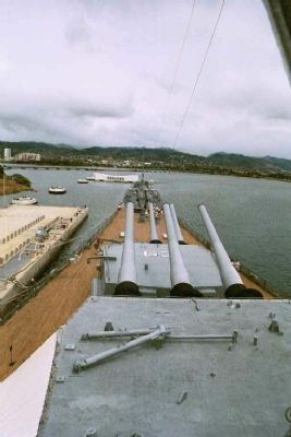 Overlooking the USS Arizona Memorial from the bridge of the USS Missouri Photo, Click for full size