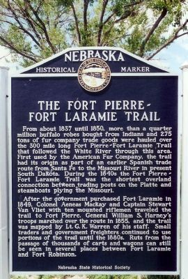 The Fort Pierre-Fort Laramie Trail Marker image. Click for full size.