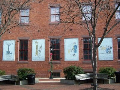 Many watercolors are displayed as murals on Cherry Lane image. Click for full size.