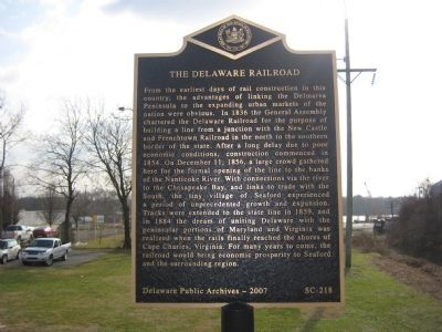 The Delaware Railroad Marker image. Click for full size.