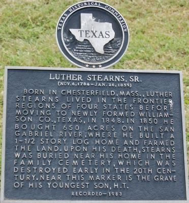 Luther Stearns, Sr. Marker image. Click for full size.