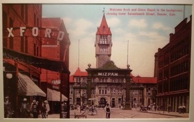 The second Union Station (built in 1894) and the Mizpah Arch image. Click for full size.