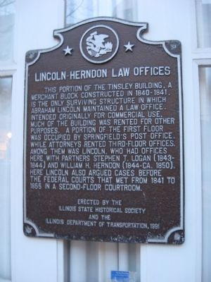 Lincoln-Herndon Law Offices Marker image. Click for full size.