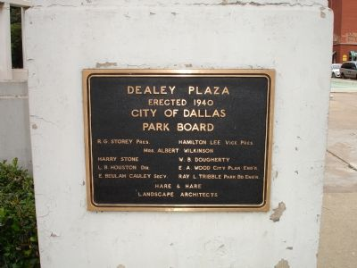 Dealey Plaza dedication plaque image. Click for full size.