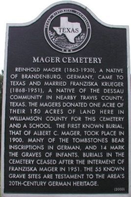 Mager Cemetery Marker image. Click for full size.