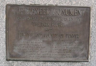 The Pioneer Monument was restored in December, 1983 image. Click for full size.