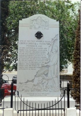 Site Of The First Mission In Texas Marker image. Click for full size.