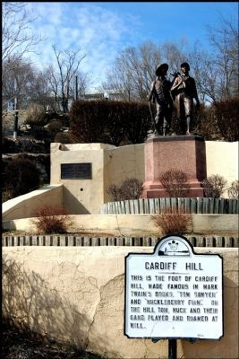 Tom Sawyer and Huck Finn at the Foot of Cardiff Hill Marker image. Click for full size.
