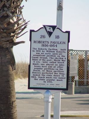 Roberts Pavilion Face of Marker image. Click for full size.