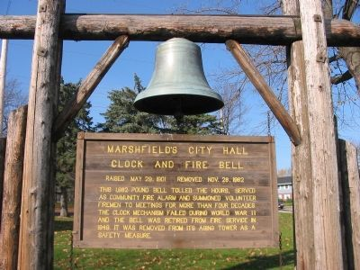 Marshfield's City Hall Clock and Fire Bell Marker image. Click for full size.
