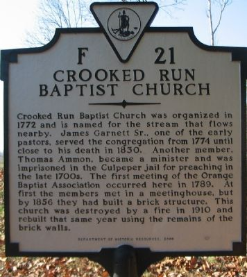 Crooked Run Baptist Church Marker image. Click for full size.