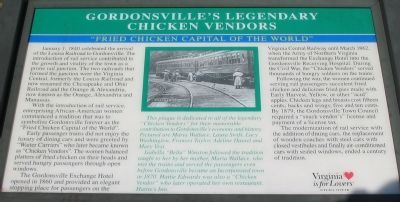Gordonsville's Ledgendary Chicken Vendors Marker image. Click for full size.