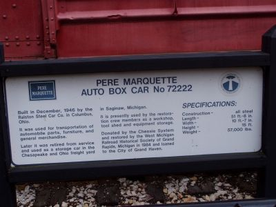 Pere Marquette Auto Box Car No 72222 Marker image. Click for full size.