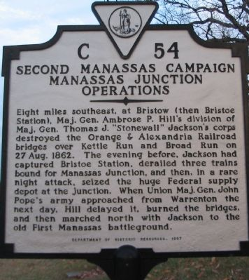 Second Manassas Campaign Manassas Junction Operations Marker image. Click for full size.