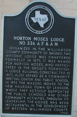 Norton Moses Lodge No. 336, A.F. & A.M. Marker image. Click for full size.