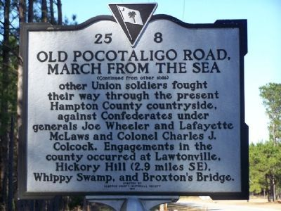 Old Pocotaligo Road, March from the Sea Marker <i>(reverse) image. Click for full size.