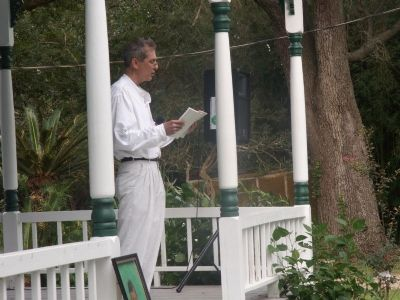 Author Stephen Chism on the porch image. Click for full size.