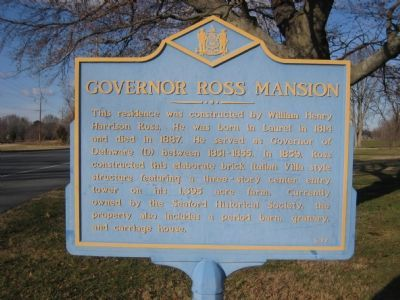 Governor Ross Mansion Marker Photo, Click for full size