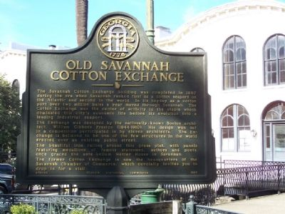 Old Savannah Cotton Exchange Marker Photo, Click for full size