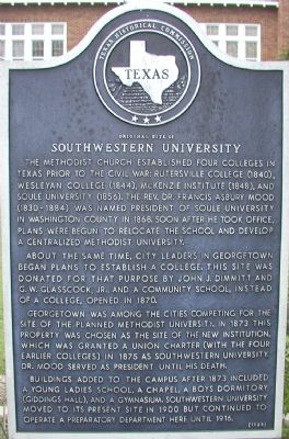 Original Site of Southwestern University Marker image. Click for full size.